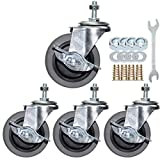 Side-Brake Casters, Aozel 3 Inch Swivel Stem Caster Wheels Industrial Castors Non-Marking Red PVC Material Wheel for Funiture DIY Stand Pack of 4 (Imperial Size 5/16-18)