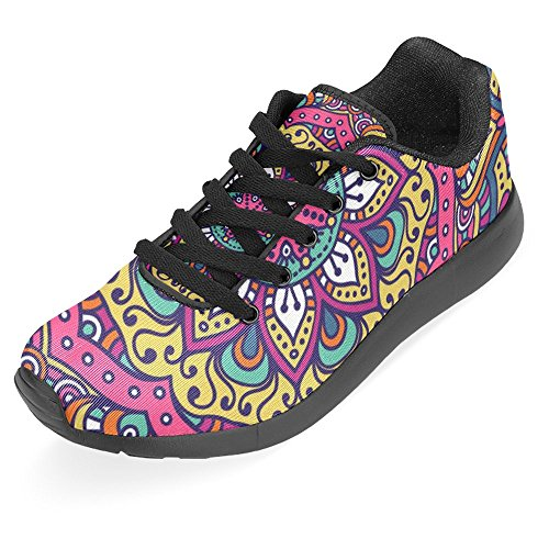 Interestprint Mujeres Jogging Running Sneaker Ligero Go Easy Walking Casual Comodidad Running Zapatos Hermoso Mandala OrnaHombresto Floral Rojo Violeta Multi 1