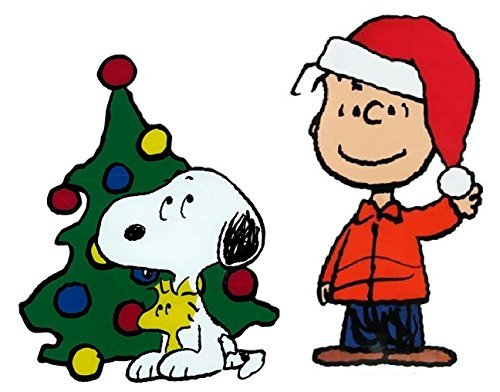 Peanuts Window Cling Linus Santa Hat and Snoopy and Woodstock by the Christmas Tree]()
