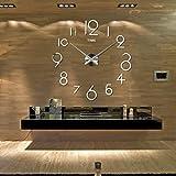 DDLBiz Wall Clock Living Room DIY 3D Home Decoration Mirror Large Art Design (Silver)