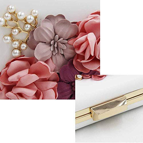 White Flower Clutch Prom Women's Bag Handbag Pearl Evening Bag Diamond High Luxury End Embroidery zxUFxOwqPd