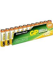 GP Batteries GP15AU Ultra Alkalin LR6/E91/AA Kalem Pil, 1.5 Volt, 12'li Paket, Bakır/Siyah/Beyaz