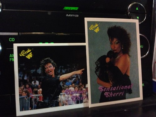 Sensational Queen Sherri 1990 Classic WWF Wrestling Lot of 2 Trading Cards #18, 73 - Sherri Martel - Stored in a Protective Plastic Display Case!!