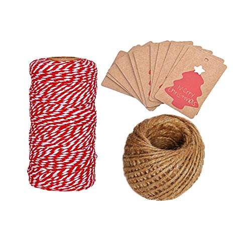 OxoxO 100pcs Merry Christmas Kraft Tags with Roll Jute Twine 100 ft and Roll Cotton Rope 100 yd for Christmas Gift Boxes/Bags, Party Favors, Cupcake Wrappers, Wine Bottles Etc (Bottle Kraft)