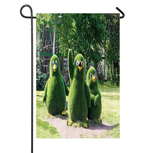 (HOOSUNFlagrbfa Sweet Waving Wing Penguin Figures from Topiary Bushes Greeting at Zoo Photo Garden Flag 12 x 18 Double Sided, Yard Outdoor House Flags Banner Party Home Decor)