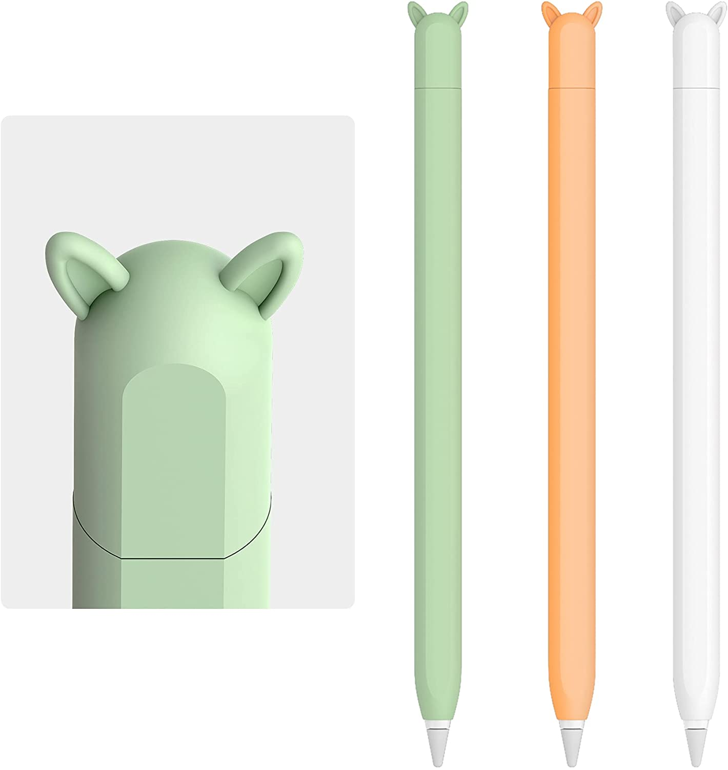 3 Pack Cute Ear Case Silicone Skin Cover for Apple Pencil 2nd Generation Accessories Compatible with iPad Pro 11 12.9 inch(White, Orange,Green)