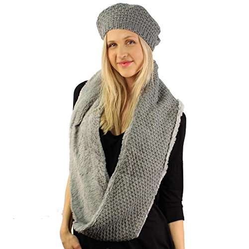 Winter 2pc Set Beret Soft Faux Fur Knit Warm Loop Infinity Cowl Hat Scarf Gray (Scarf Beret Set)