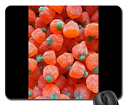 Mouse Pads - Candy Pumpkins Halloween Holiday Autumn Orange -