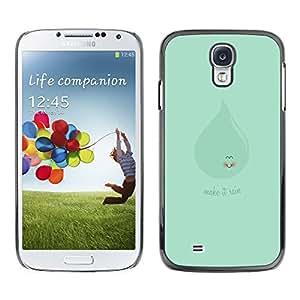 SAMSUNG Galaxy S4 IV / i9500 / i9515 / i9505G / SGH-i337 , Radio-Star - Cáscara Funda Case Caso De Plástico (Cute Green Make It Rain)
