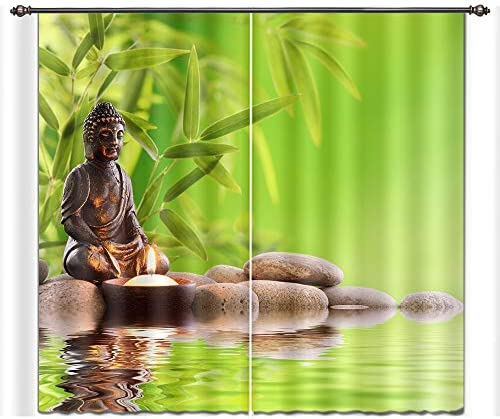 LB Spa Window Curtains for Living Room Bedroom,Buddha Sat on The Zone Stone Calm Water Pattern Window Treatment Decorative 3D Blackout Curtains Drapes 2 Panels,42 x 84 Inches