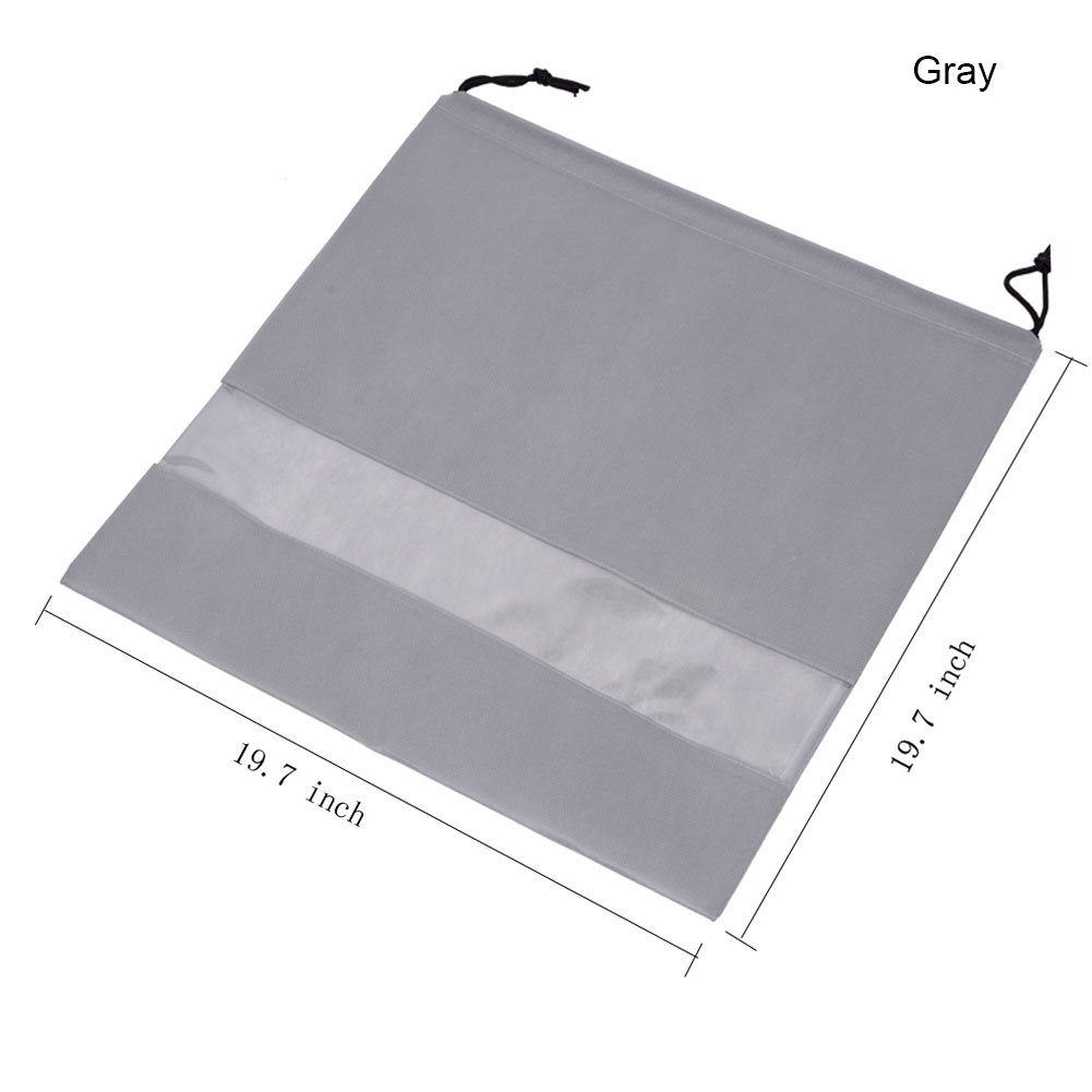 2 PCS Bags Perspective Window Storage Bag Non-woven Breathable Drawstring Pouch Dust Bags for Handbags (Windows-Gray)