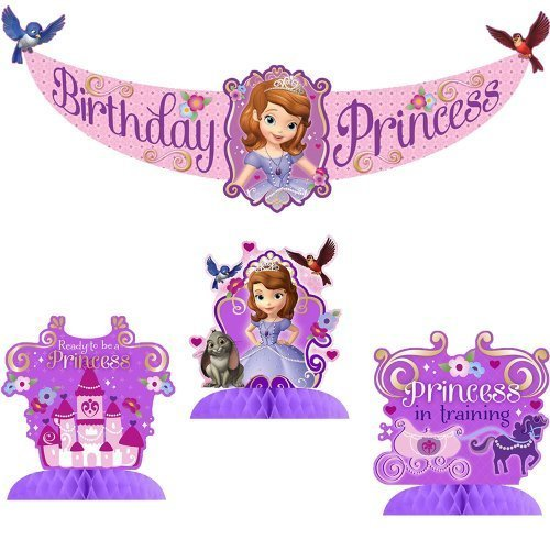 Disney Junior Sofia the First Party Decorating Kit Includes Centerpiece and Banner ()