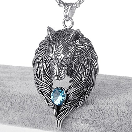 octchoco s necklace wolf pendant with 24 inches chain