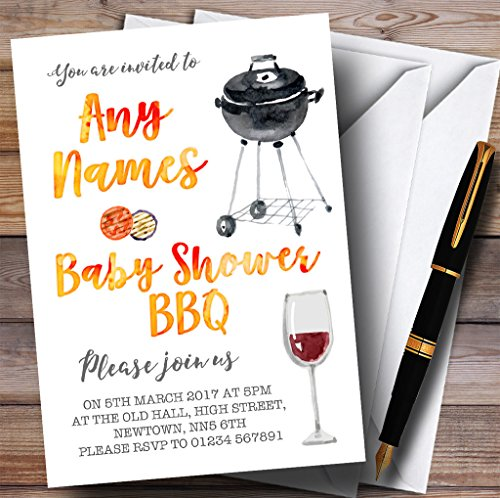 Watercolour Bbq Invitations Baby Shower Invitations