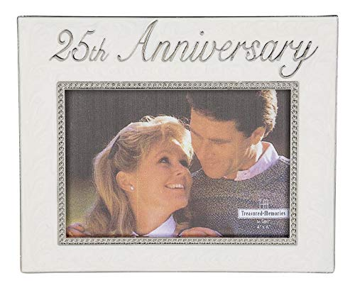 Ganz 25th Anniversary Photo Frame, White and Silver ()