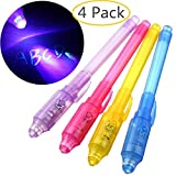 GbaoY 4 Pack Invisible Ink Pen witn UV Light, Magic Marker Spy Pens for Kids Toy Best Gift