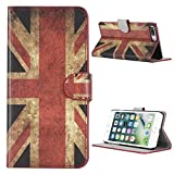 Kit Me Out CAN® Apple iPhone 7 Plus [PU Leather] Protective Book Folio Flip Case Cover - Red / White / Blue UK Flag Union Jack