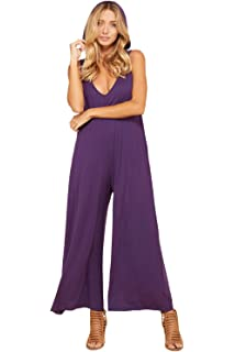 1089d93d091 Annabelle Women s Deep V Neck Loose Fit Full Length Tank Top Sleeveless Jumpsuit  Pockets Hoodie