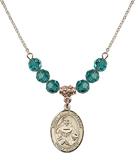 18-Inch Hamilton Gold Plated Necklace with 6mm Zircon Birthstone Beads and Fish//Cross Charm Blue Zircon December Birthstone