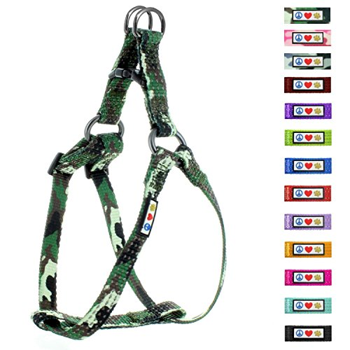Pawtitas Pet Reflective Step in Dog Harness Reflective Vest Harness, Comfort Control, Training Walking Your Puppy/Dog Extra Small Dog Harness XS Green Camouflage Dog (Extra Small Green Camo)