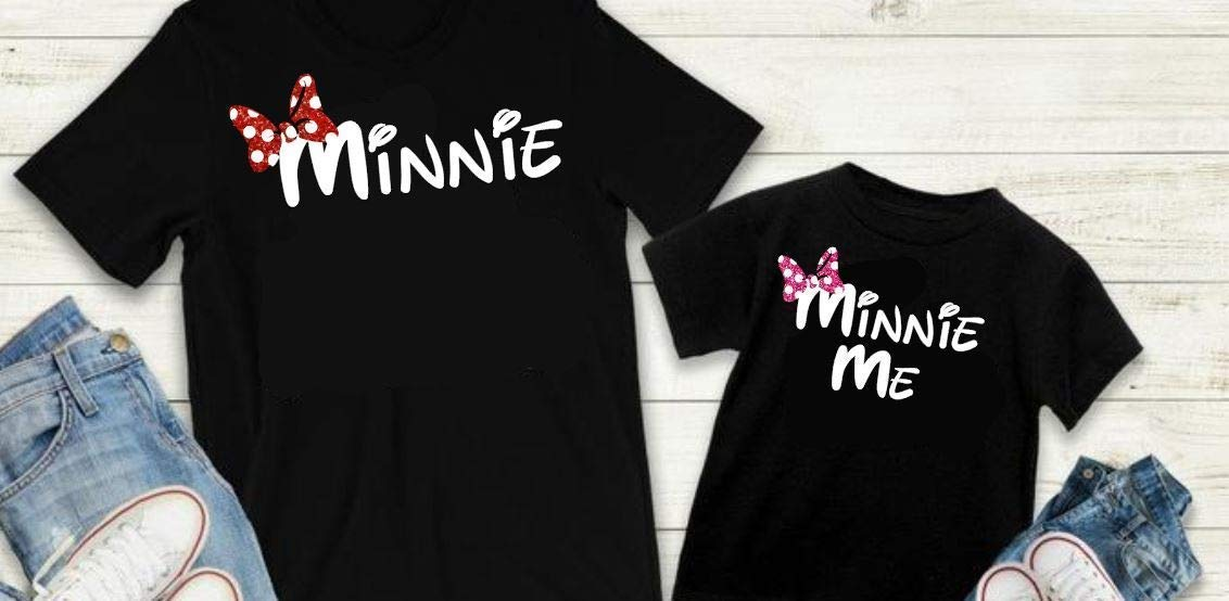 Mother and daughter set. Mama mouse and Mini Mouse black t-shirts set