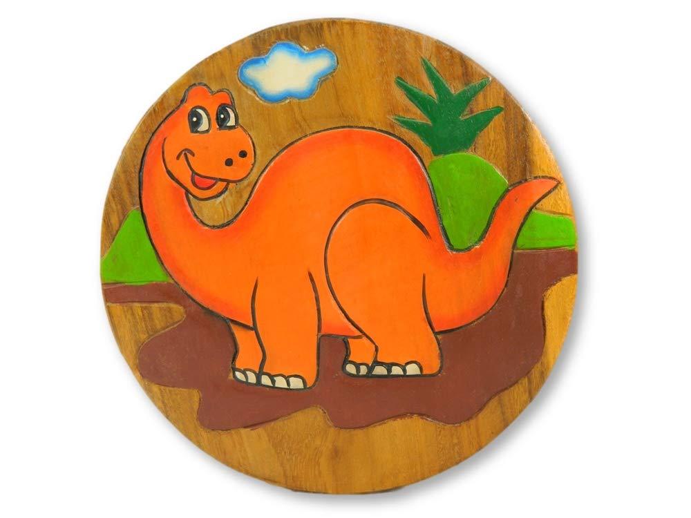 Dinosaur Diplodocus Orange Step Stool Thai Gifts Childs Childrens Wooden Stool