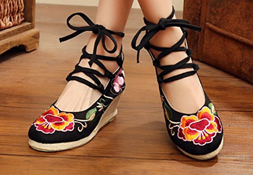Avacostume Mujeres Embroidery Classics Casual Zapatos Strappy Wedges Black