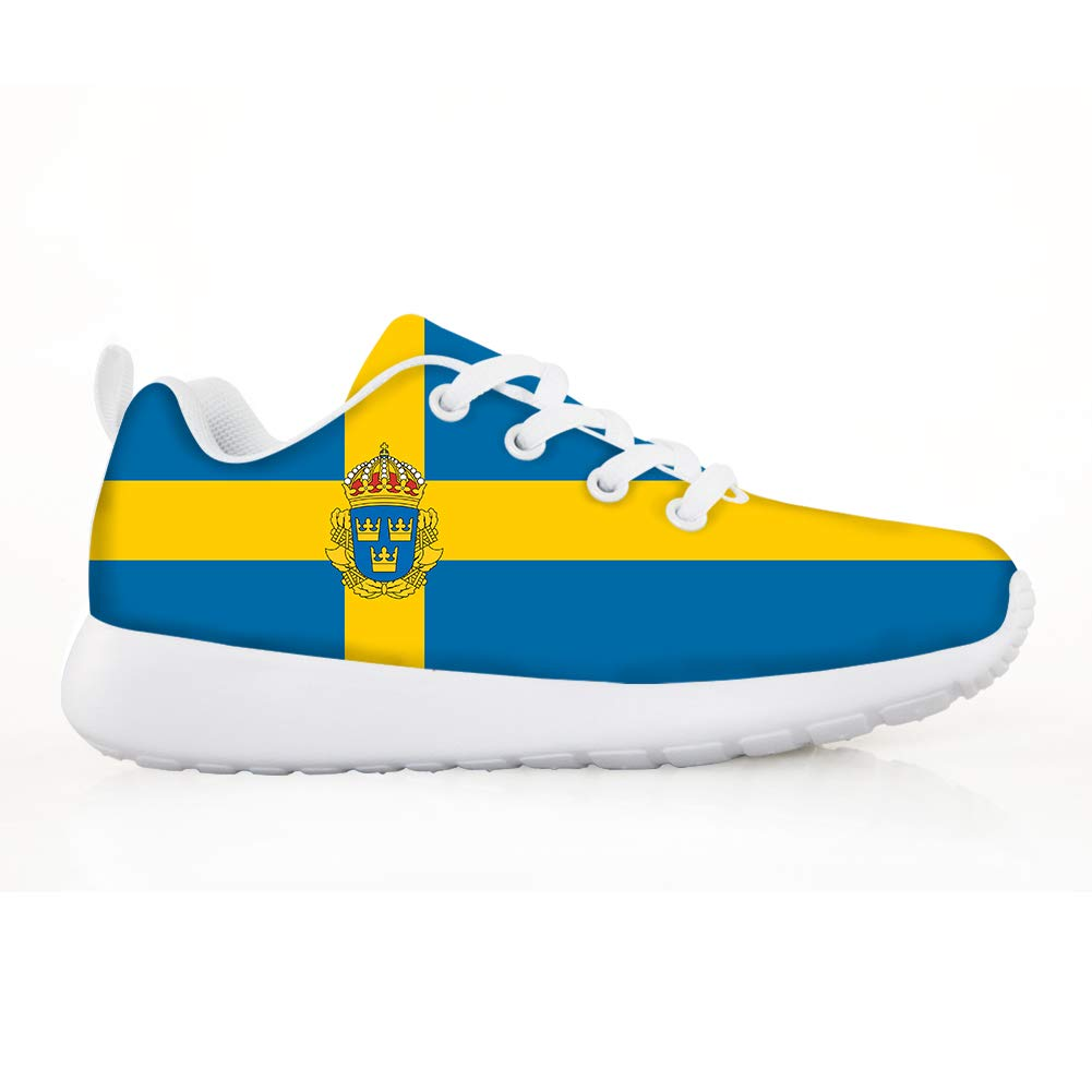 Boys Girls Casual Lace-up Sneakers Running Shoes Sweden Flag National Emblem