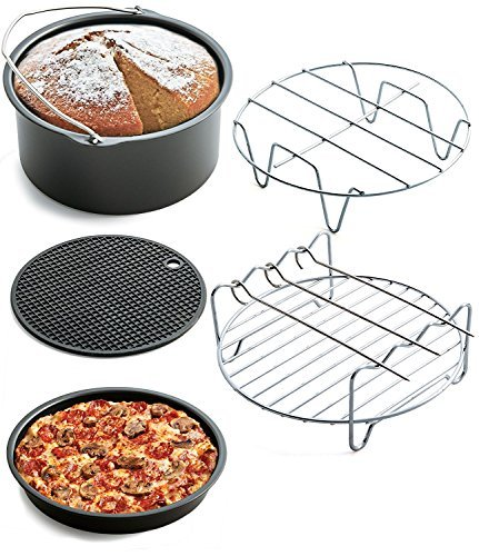 Air Fryer Accessories- 5 pieces Premium Hot Air Fryer Accessories Kit for Gowise, Phillips, Cozyna and More Brand, Fit all 3.7QT 5.3QT 5.8QT