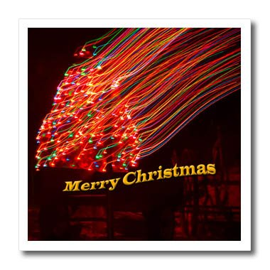 (3dRose Jos Fauxtographee- Christmas Slow Shutter - A slow shutter mistake of a lighted tree saying Merry Christmas - 6x6 Iron on Heat Transfer for White Material)