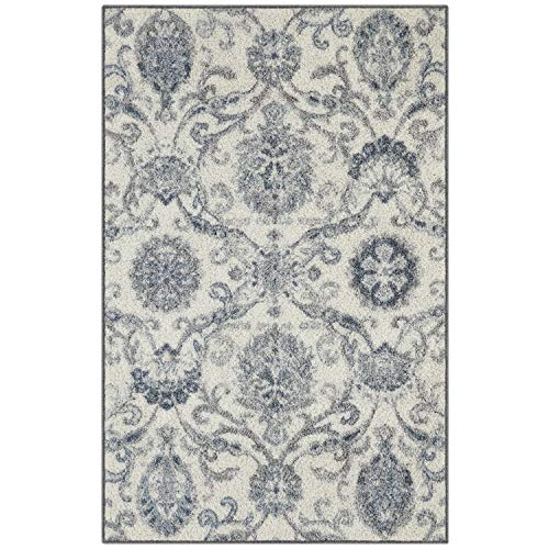 Maples Rugs Kitchen Rugs - Blooming Damask 2'6 x 3'10 Distressed Style Non Skid Washable Throw Rugs [Made in USA] for Entryway and Bedroom, Gray/Blue