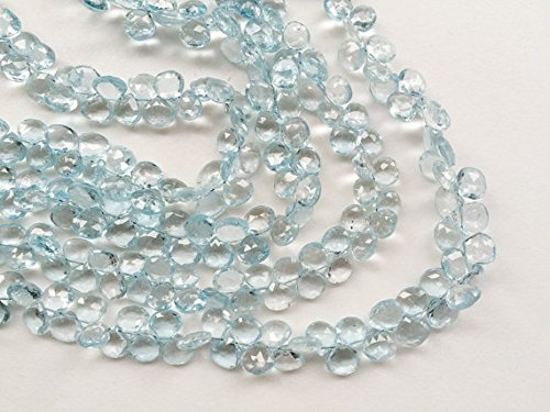Faceted Briolette Blue Topaz Necklace (JP_Beads 1 Strand Natural Blue Topaz Faceted Heart Briolettes, Original Blue Topaz Necklace, 7mm 8