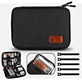 Travel Cable Organizer Bag Waterproof Electronic Accessories Soft Case with 5pcs Cable Ties for USB Drive Phone Charger Headset Wire SD Card Power Bank (Black)