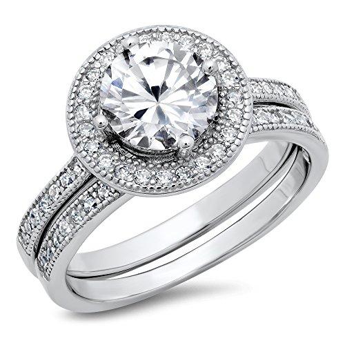Sz 6 Sterling Silver Cubic Zirconia Halo 3.3 Carat tw Round Brilliant Cut CZ Wedding Engagement Ring Set ()