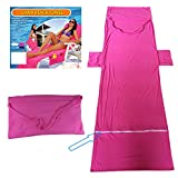 Anddoa Summer Microfiber Lounge Chair Beach Towel with Pockets Holidays Sunbathing Quick Drying Towels - Rose