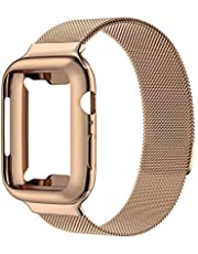Compatible with Apple Watch Band with Screen Protector, Stainless Steel Mesh Loop Band, Wristband Replacement Band with Watch Case, Compatible for IWatch Series 5/4/3/2/1 (Rose Gold, 44)