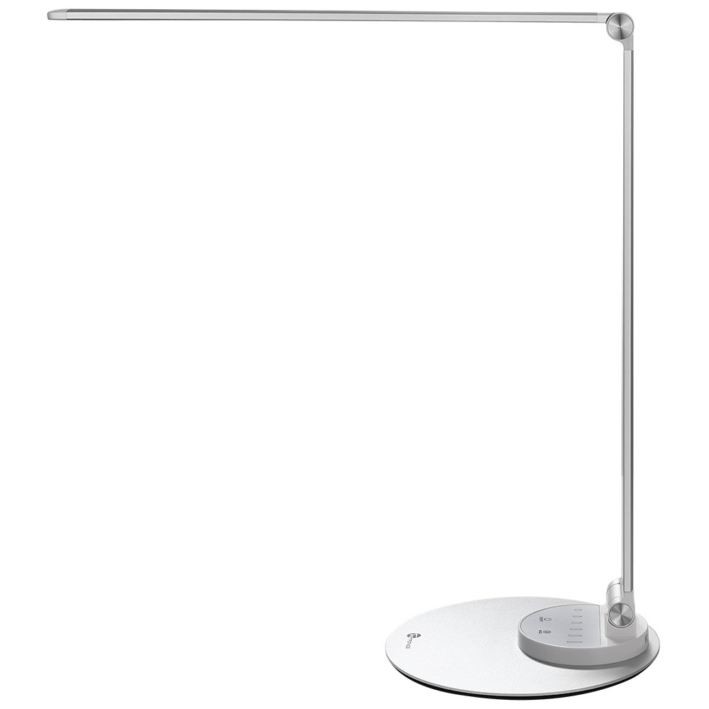 TaoTronics Aluminum Alloy Dimmable Dimmable LED Desk Lamp with USB Charging Port, Table Lamp for Office Lighting, 3 Color Modes & 6 Brightness Levels, Silver, Philips Enabled Licensing Program
