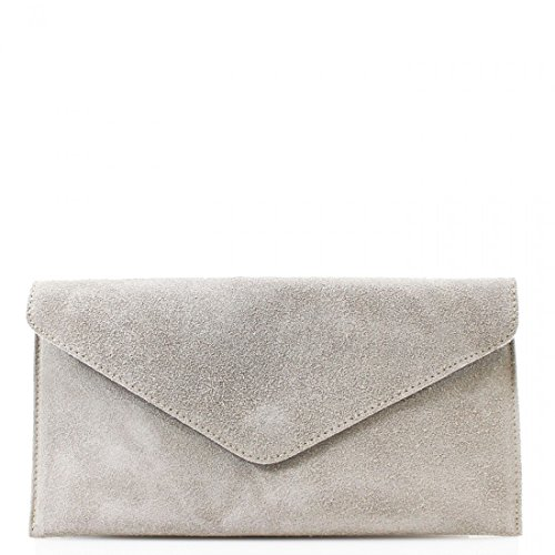 Shoulder Ladies Prom Women Party Real Light Side Clutch Suede Wkds Body Bags Cross Grey Leather UFHUx