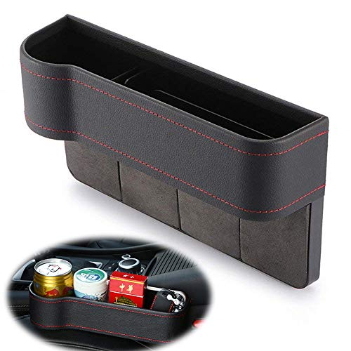 - Universal Car Seat Side Gap Filler, Seat Crevice Slit Pockets, Seat Side Drop Catcher Tray, PU Leather Leak-Proof Storage Box Organizer for Wallet Phone Coins Cigarette Keys Cards Cups