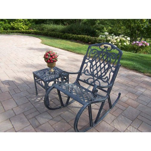 Oakland Living Mississippi Cast Aluminum 2-Piece Rocking Set with 18-Inch Side Table