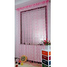 Ainest Drop Beaded String Door Window Curtain Divider Tassel Fly Screen Room Blind Pink