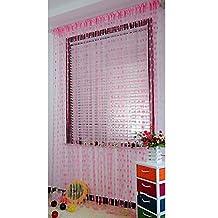 Ainest Drop Beaded String Door Window Curtain Divider Tassel Fly Screen Room Blind Pink