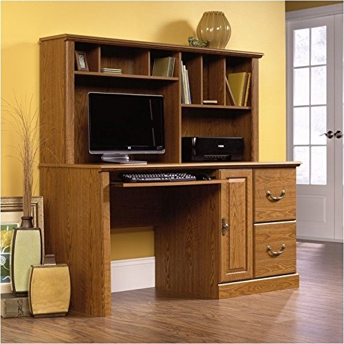 Pemberly Row Wood Computer Desk with Hutch in Carolina Oak by Pemberly Row