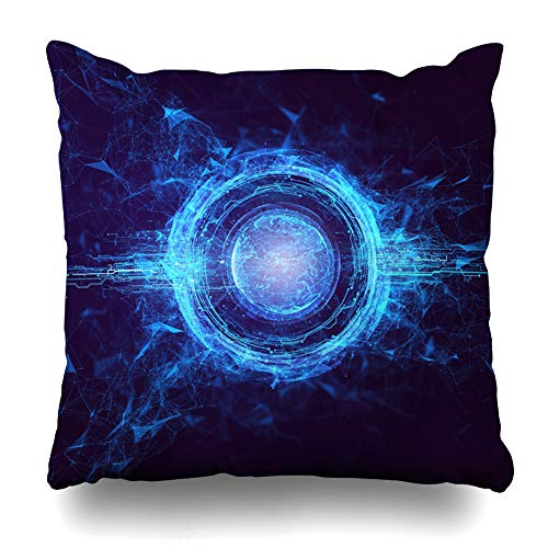 Ahawoso Throw Pillow Cover Sustainability Hitech Hologram Globe Earth Render Technology Abstract World Cyber Circle Power Design Home Decor Cushion Case Square Size 20 x 20 Inches Zippered Pillowcase