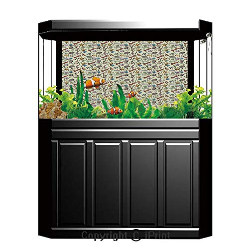 Fish Tank Background Decor Static Image Backdrop,Music,Drums Fun Keyboard Icons Guitar Tempo Harp MP3 Playing Boombox Gjettoblaster Graphic Decorative,Multicolor,Underwater Ecosystem Photography Backd
