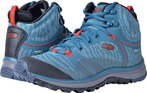 KEEN Women's Terradora Mid WP-w Hiking Shoe, Blue Coral/Fiery Red, 8 M US by KEEN
