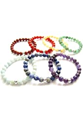 Chakra Bracelets Elastic Gemstone Beaded Set of 7
