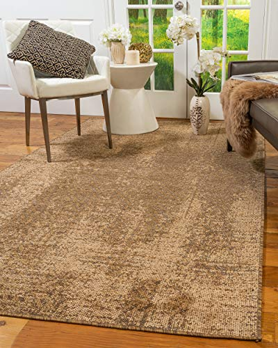 NaturalAreaRugs Turkish Rome Vintage Design Olefin, Jute, and Polyester Chenille Area Rug, Durable, Eco-Friendly, Brown Color (6 Feet 5-Inch X 9 Feet)