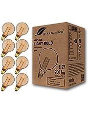 8x greenandco® LED vintage retro glödtråd glödlampa bärnsten Edison stil E27 G95 4W 200lm 1800K (extra varm vit) 320° 230V glaslampa, ingen flicker, ej dimbar