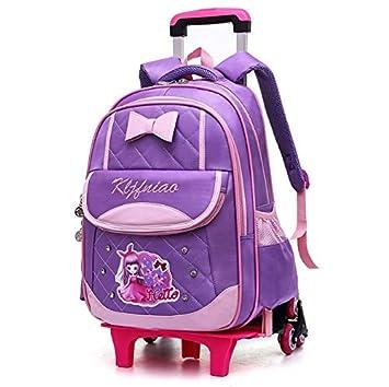 YSZDM Trolley para niños, Mochila con Ruedas, Modelo Princesa para niños Mochila con Ruedas